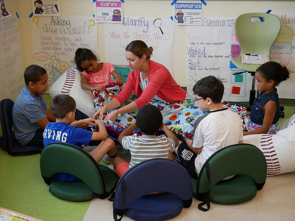 Photo of MAT student Megan O'Connell at the Elms Summer Reading program