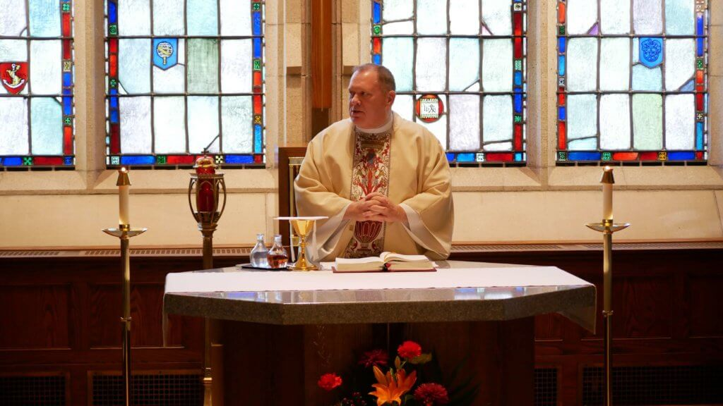 Photo of Father Mark at mass in the chapel