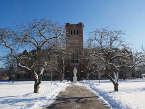 Photo of Berchmans Hall in the snow