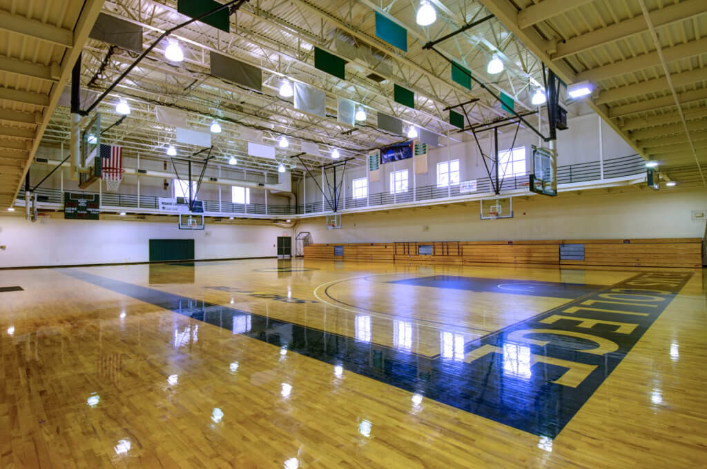 Photo of the basketball court in the Maguire Center
